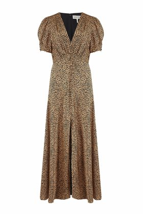 lea long dress in camo leopard