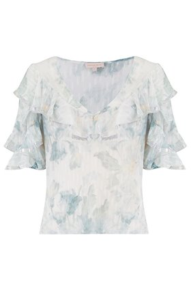 short sleeve lily v-neck top in snow combo
