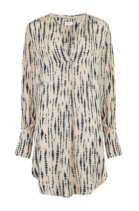 tye dye shirt dress in cream & navy