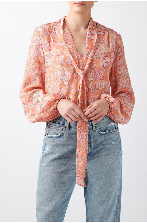 moss printed top in disco paisley pink