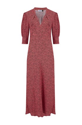 isabella dress in autumn leaf pink