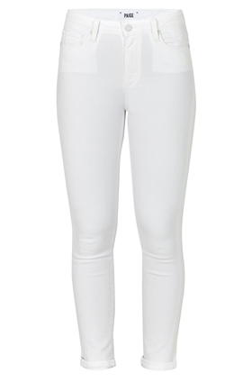 Paige Hoxton Crop Roll Up Skinny Jean in Optic White