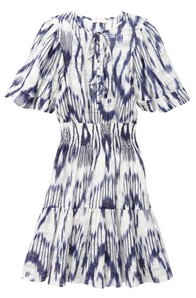 short sleeve ikat smock dress in snow combo