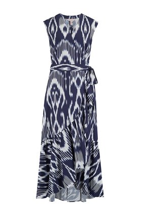 wrap dress ikat in indigo combo