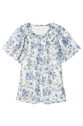 esmee floral top in oxford combo