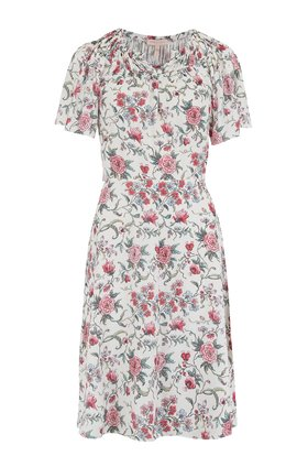 sleeveless esmee floral dress in rosebud combo