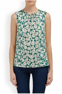 sleeveless serene floral top in palm combo