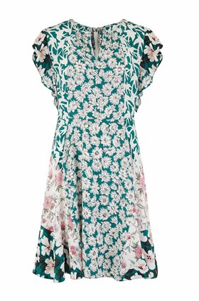sleeveless serene floral dress in palm combo