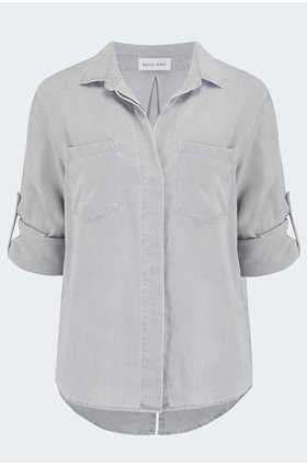 split button down shirt in foggy sky