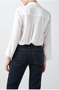 shirt tail button down in white
