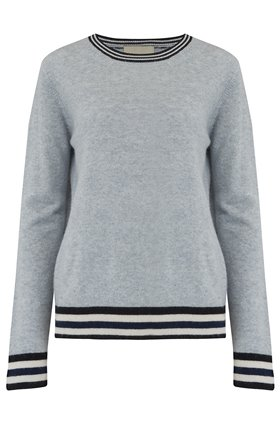 five stripe boxy jumper in silver