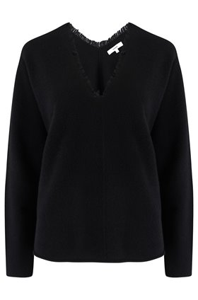 fringe v-neck jumper in black