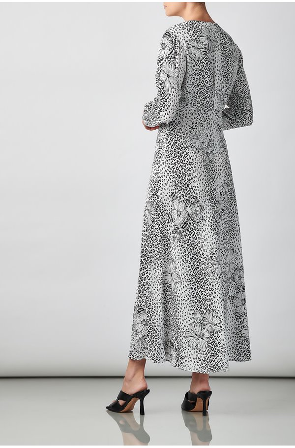 katie dress in mono floral leopard
