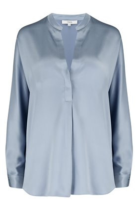 band collar blouse in piero blue