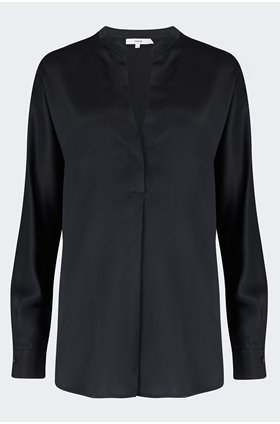 band collar blouse in black