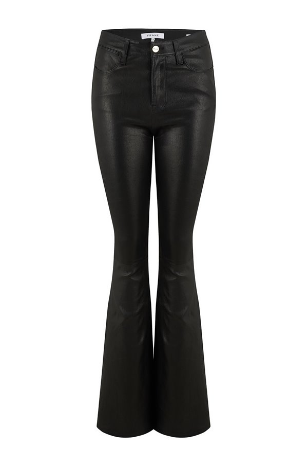 le high flare jean in noir leather