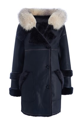 axa faux fur reversible parka in navy