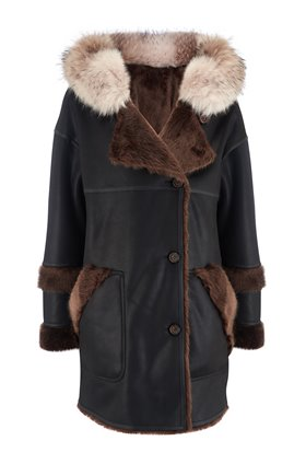 axa faux fur reversible parka in brown