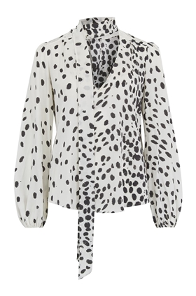 Moss Blouse in White Leopard Print