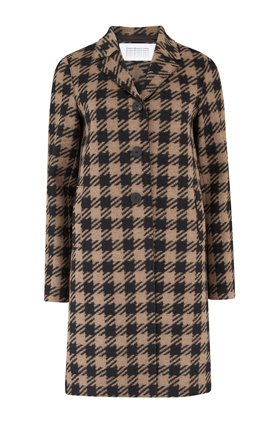 oversized gingham boxy coat in camel
