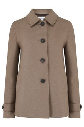loden coat in taupe