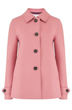 loden coat in dusty rose