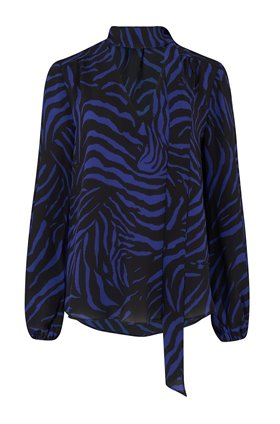 rixo moss printed top in navy zebra