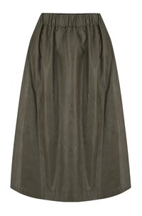 vegan leather skirt in khaki