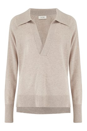 open neck jumper in oatmeal