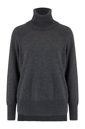 roll neck jumper in charcoal