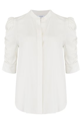 shirred sleeve top in blanc