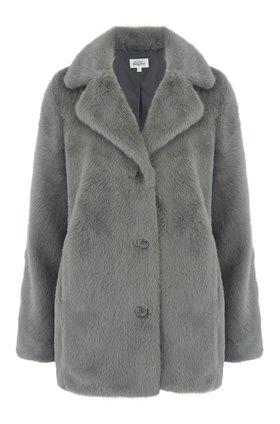 vlap faux fur coat in light green