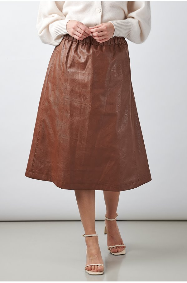 vegan leather skirt in brown