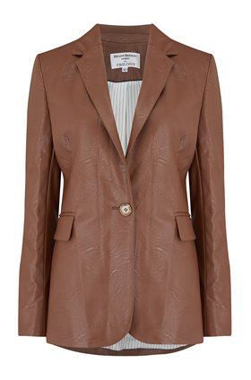 carine vegan leather jacket in brown