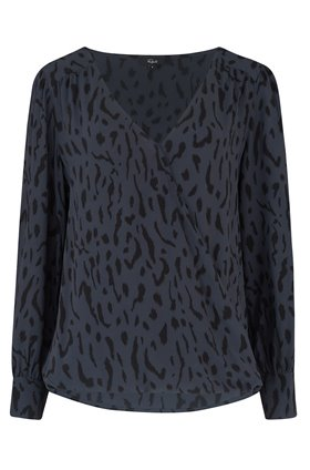 hillary top in ash cheetah