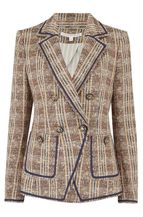 theron jacket in brown multi