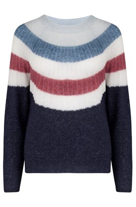 stripe yolk crew jumper