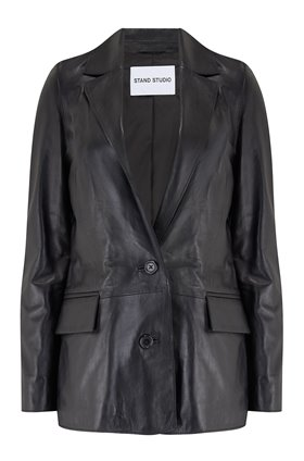 catherine leather blazer in black