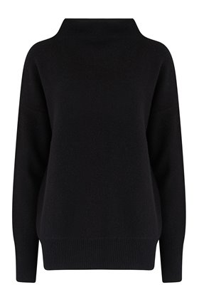 boiled funnel neck jumper in black
