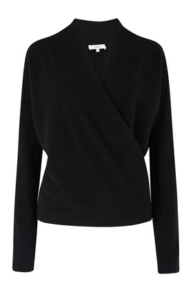 wrap front jumper in black