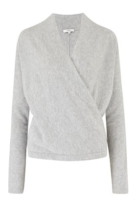 wrap front jumper in soft grey