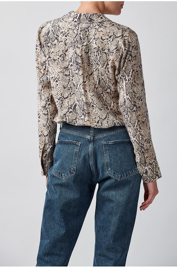 rebel shirt in ivory snakeskin