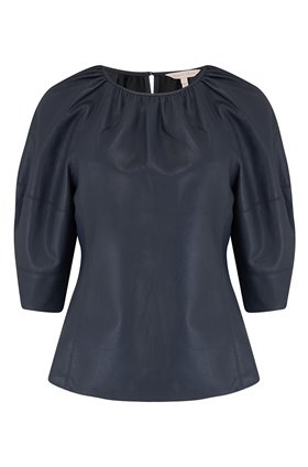 vegan leather blouse in dark navy