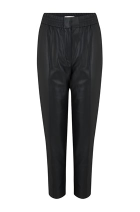 vegan leather track pant in black