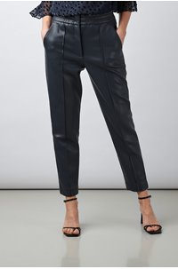 vegan leather track pant in navy