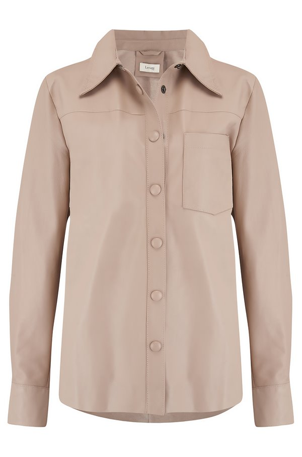 globa leather shirt in camel