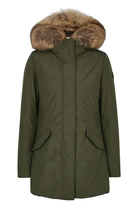luxury arctic parka in dark green