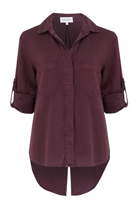 split button down shirt in pinot noir