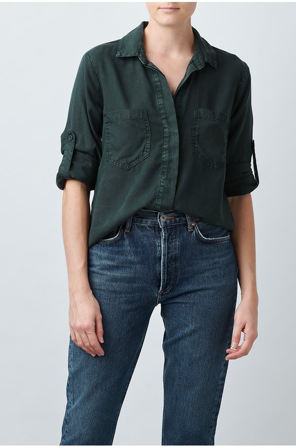 split button down shirt in olive vine