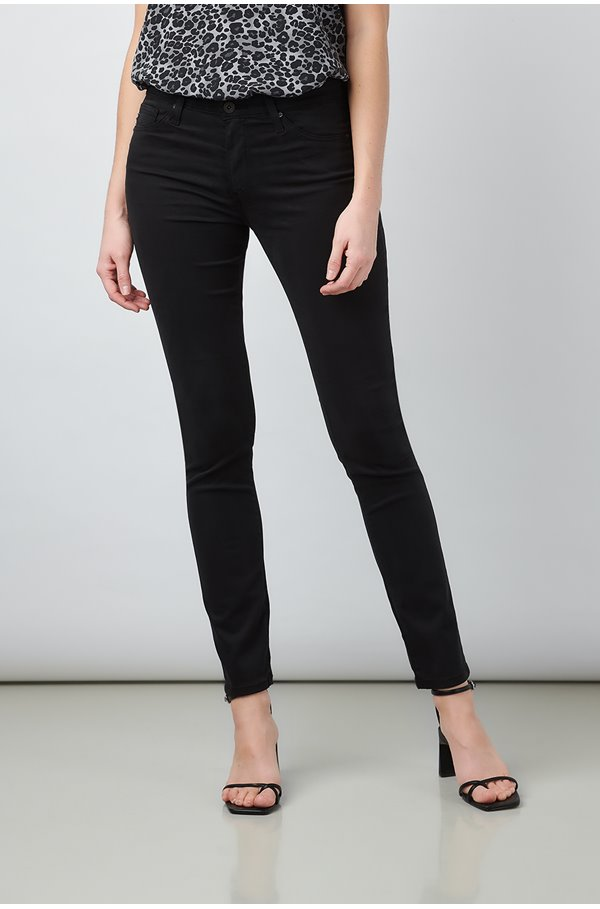 prima ankle jean in black sateen